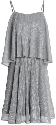 Halston Layered Plisse Lame Mini Dress