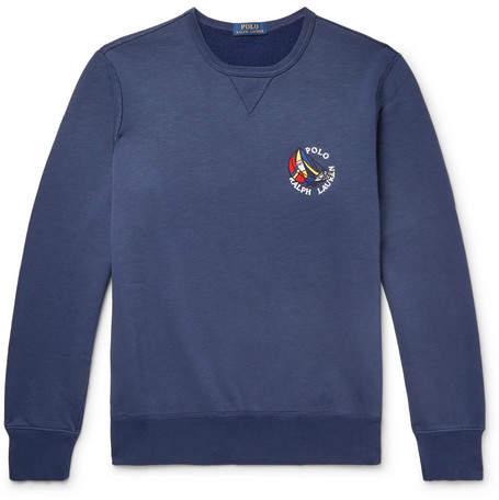 Polo Ralph Lauren Appliquéd Fleece-back Cotton-blend Jersey Sweatshirt - Storm blue