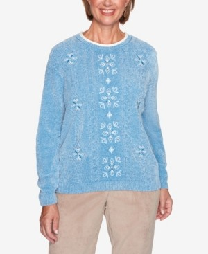 Alfred Dunner Women's Missy Dover Cliffs Medallion Center Embroidery Sweater