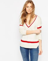 Asos Fine Sweater with Placement Stripe Detail in V Neck
