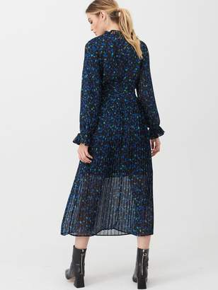 Very High Neck Pleated Skirt Dress - Print