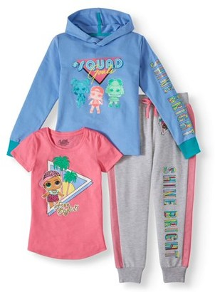 L.O.L Surprise! L.O.L. Surprise! Graphic Hoodie, Tee and Sweatpants, 3-Piece Outfit Set (Little Girls & Big Girls)