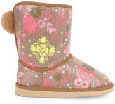 Billieblush Fur-lined printed boots with sequins