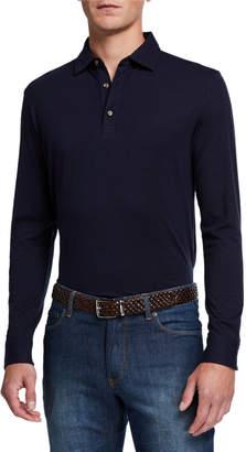 Peter Millar Men's Crown Fleece Long-Sleeve Polo Shirt