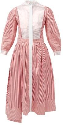 Alexander McQueen Striped Crop-sleeve Asymmetric-hem Poplin Dress - Red Multi
