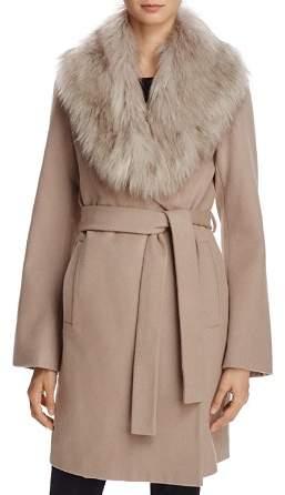T Tahari Flora Faux Fur-Trim Wrap Coat