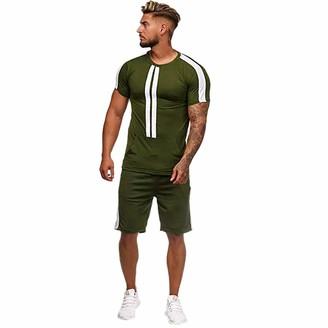 Luckme Mens Sports Shirt and Short Set Stripped Mens O-Neck Tshirt Cotton Short Sleeve Mens Short Casual Pyjamas Sets Quick Dry Summer Shorts Men Elasticated Waist Mens Tracksuits Shorts Set Green