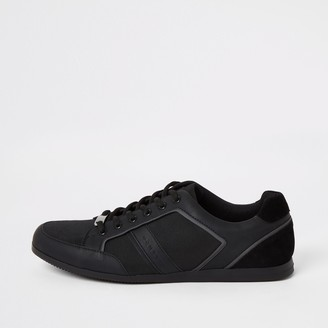 River Island Mens Black low profile lace-up trainers