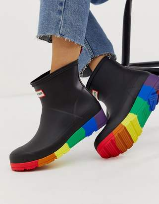 Hunter Play Pride short wellies in black and rainbow