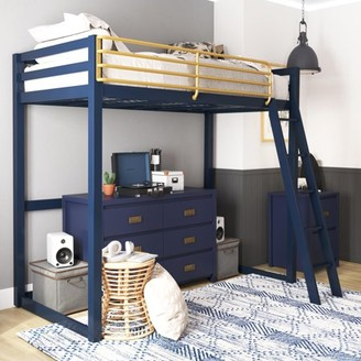 Little Seeds Monarch Hill Haven Metal Loft Bed, Twin, Navy Blue & Gold