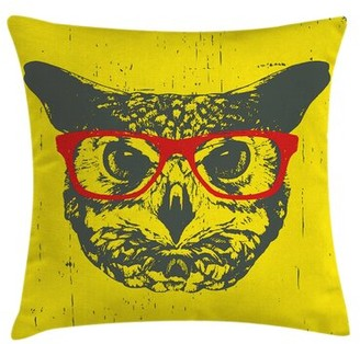 """Owl Hipster Grunge Humorous Pillow Cover Ambesonne Size: 16"""" x 16"""""""