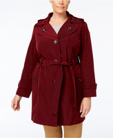 London Fog Plus Size Layered-Collar Trench Coat