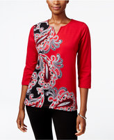 Alfred Dunner Wrap It Up Paisley-Print Sweater