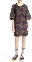 See by Chloe Women's Micro Vegas Print Bell Sleeve Dress