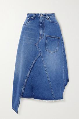 Loewe Asymmetric Frayed Denim Skirt - Blue