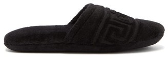 Versace Greek Key Cotton-terry Slippers - Black
