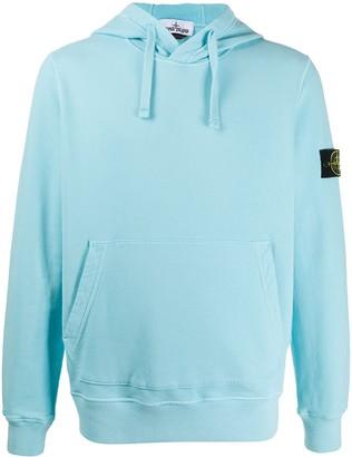 Stone Island Garment-Dyed Logo Sleeve Hoodie