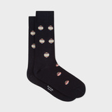 Paul Smith Men's Navy Polka Dot Stripe Socks
