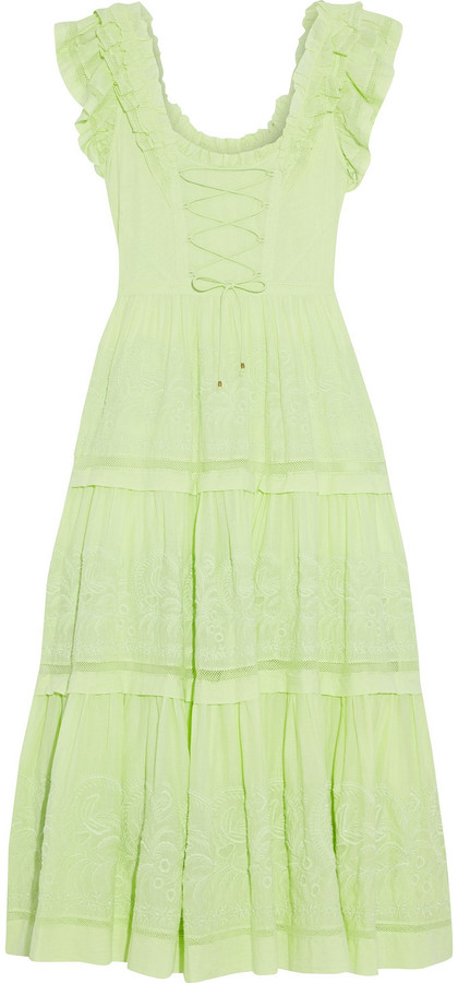 Ulla Johnson Julietta Lace-up Tiered Broderie Anglaise Cotton Midi Dress