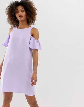 Noisy May short sleeve cold shoulder shift dress-Purple