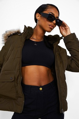 boohoo Faux Fur Lined Puffer Jacket