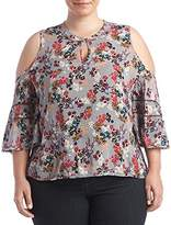 Democracy Women's Plus Size Elbow Length Cld Shldr Slv Top