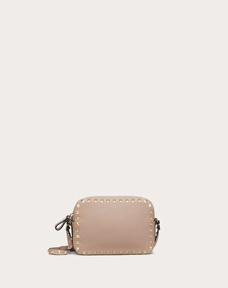 Valentino Small Rockstud Grainy Leather Crossbody Bag Women Poudre 100% Pelle Di Vitello - Bos Taurus OneSize