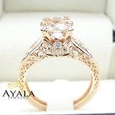 Etsy Vintage Engagement Ring 14K Rose Gold Morganite Engagement Ring Vintage Rose Gold Ring