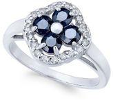 Macy's Sapphire (1-1/3 ct. t.w.) & Diamond (1/5 ct. t.w.) Clover Ring in 14k White Gold