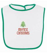 Princess Linens White & Green 'My First Christmas' Bib