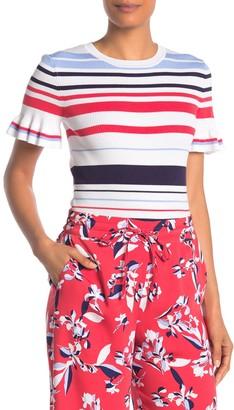 Laundry by Shelli Segal Ruffle Cuff Stripe Sweater