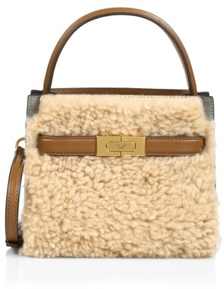 Tory Burch Petite Lee Radziwill Shearling & Leather Satchel