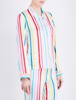 Morgan Lane Candy Stripe Ruthie silk-satin pyjama top