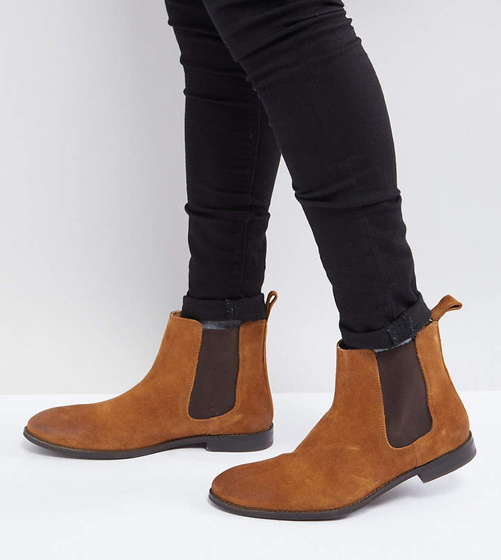 Asos Design Wide Fit Chelsea Boots in Tan Suede