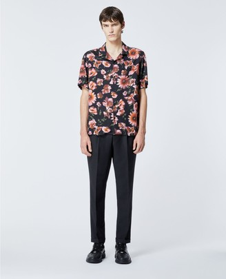 The Kooples Printed black shirt with Hawaiian collar