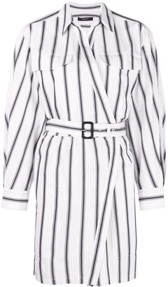Derek Lam Long Sleeve Asymmetrical Bold Striped Placket Shirt Dress