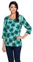 Denim & Co. Floral Print 3/4 Sleeve Knit Top