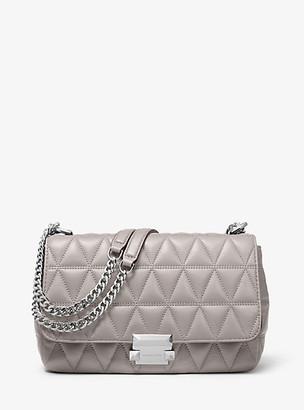 MICHAEL Michael Kors MK Sloan Large Quilted Leather Shoulder Bag - Pearl Grey - Michael Kors