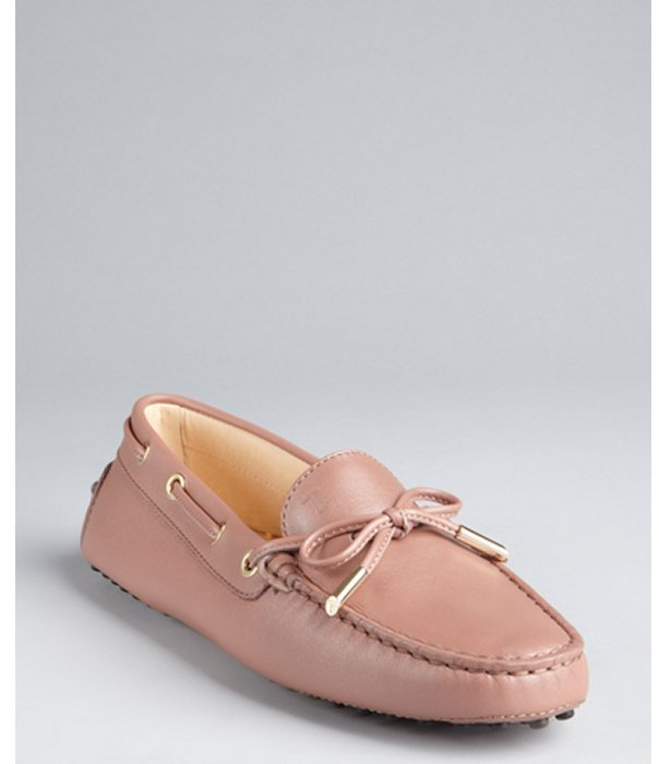 Tod's wisteria pink leather boatstitch moc toe 'Heaven' loafers