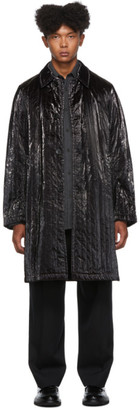 Dries Van Noten Black Coated Satin Coat