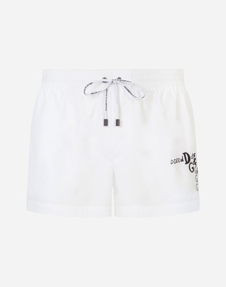 Dolce & Gabbana Short Swim Trunks With Embroidery