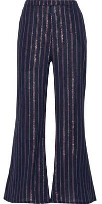 Mes Demoiselles Emmanuel Striped Crinkled Cotton-blend Flared Pants