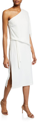 Halston Draped Asymmetric-Sleeve Midi Crepe Dress