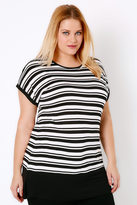 Yours Clothing Black & White Colour Block Stripe Top With Short Sleeves