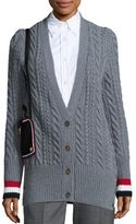 Thom Browne Deep V-Neck Wool Cardigan