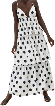Mara Hoffman Bari Polka Dot Sleeveless Tiered Ruffle Maxi Dress