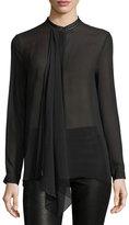 Elie Tahari Vincenza Long-Sleeve Sheer Silk Blouse