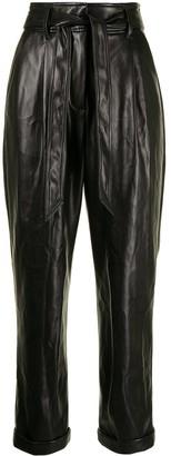 Fleur Du Mal Faux-Leather Belted Trousers