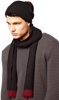 Asos Bobble Beanie Hat And Scarf Set - Black