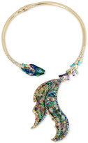 Betsey Johnson Gold-Tone Multi-Stone Fish Hinged Collar Necklace